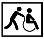 Logo persona cadira de rodes i acompanyant