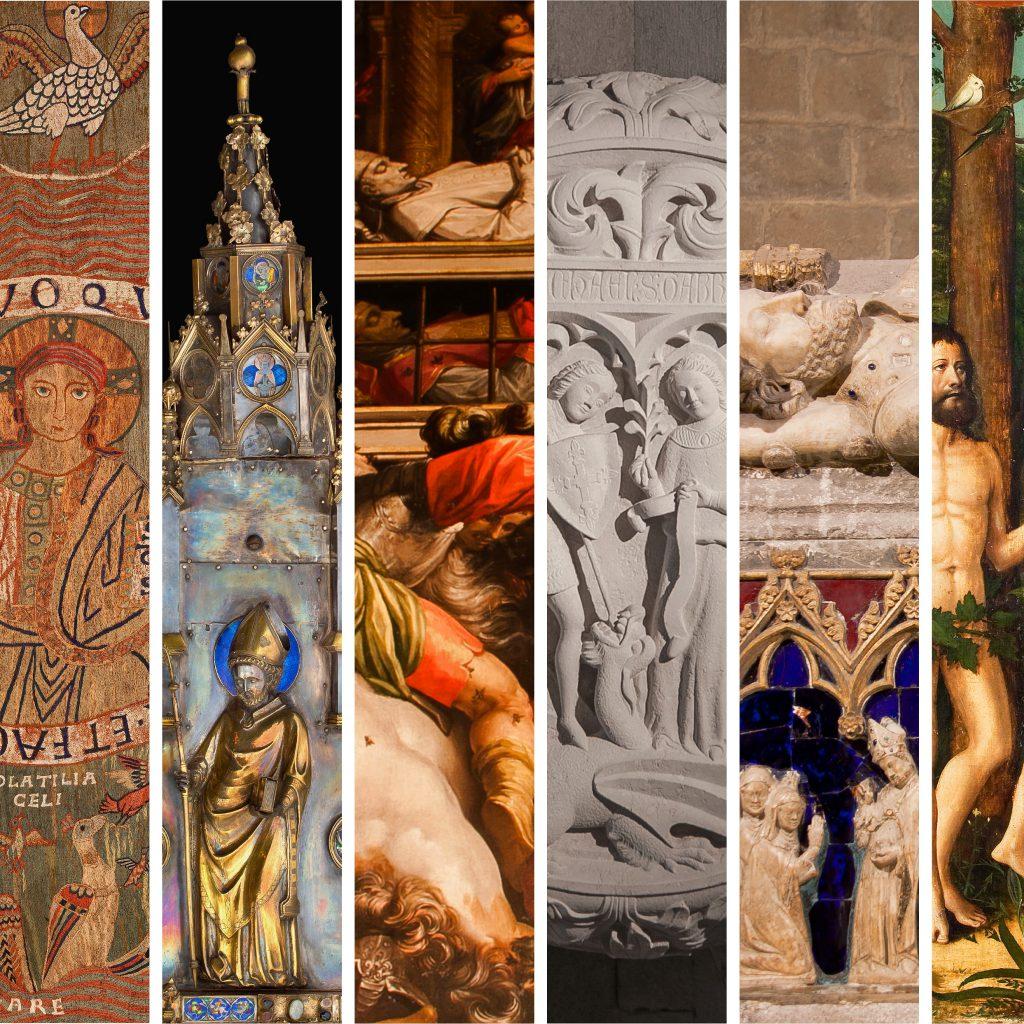 Sis detalls d'obres del Museu, de la Catedral i de Sant Feliu