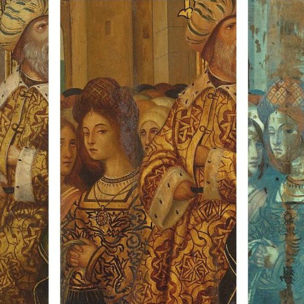 Tres fragments d'obres, amb un rostre mirant l'espectador