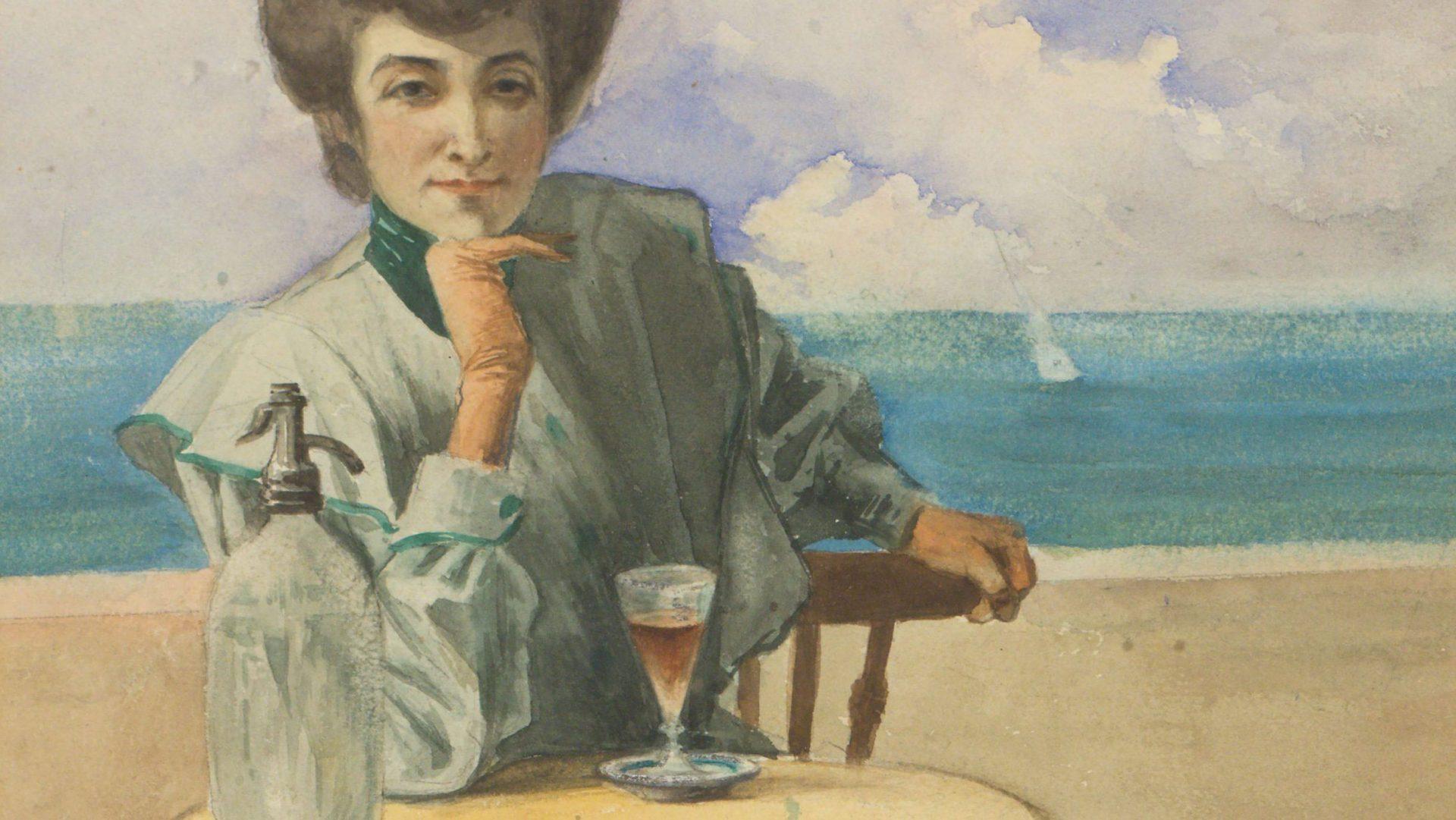 Dona asseguda a la taula d'una terrassa