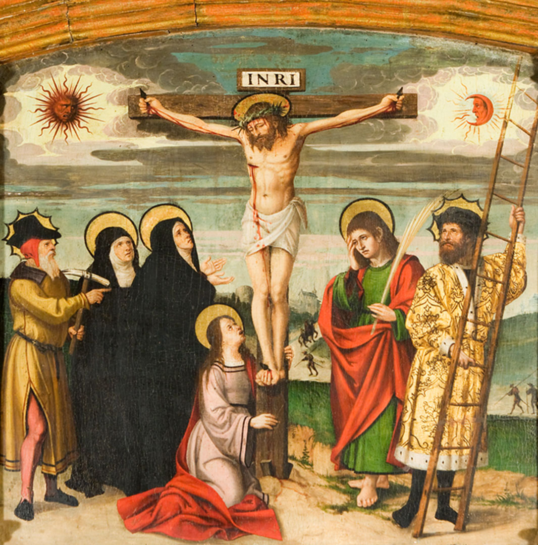 Jesús a la creu amb 6 personatges a terra
