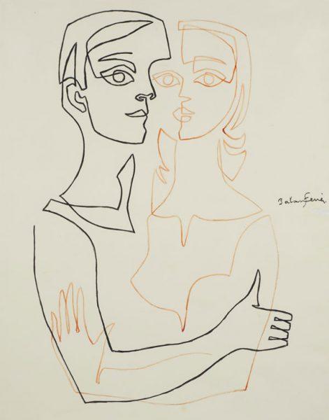 Una parella abraçada dibuixada amb dues línies continues