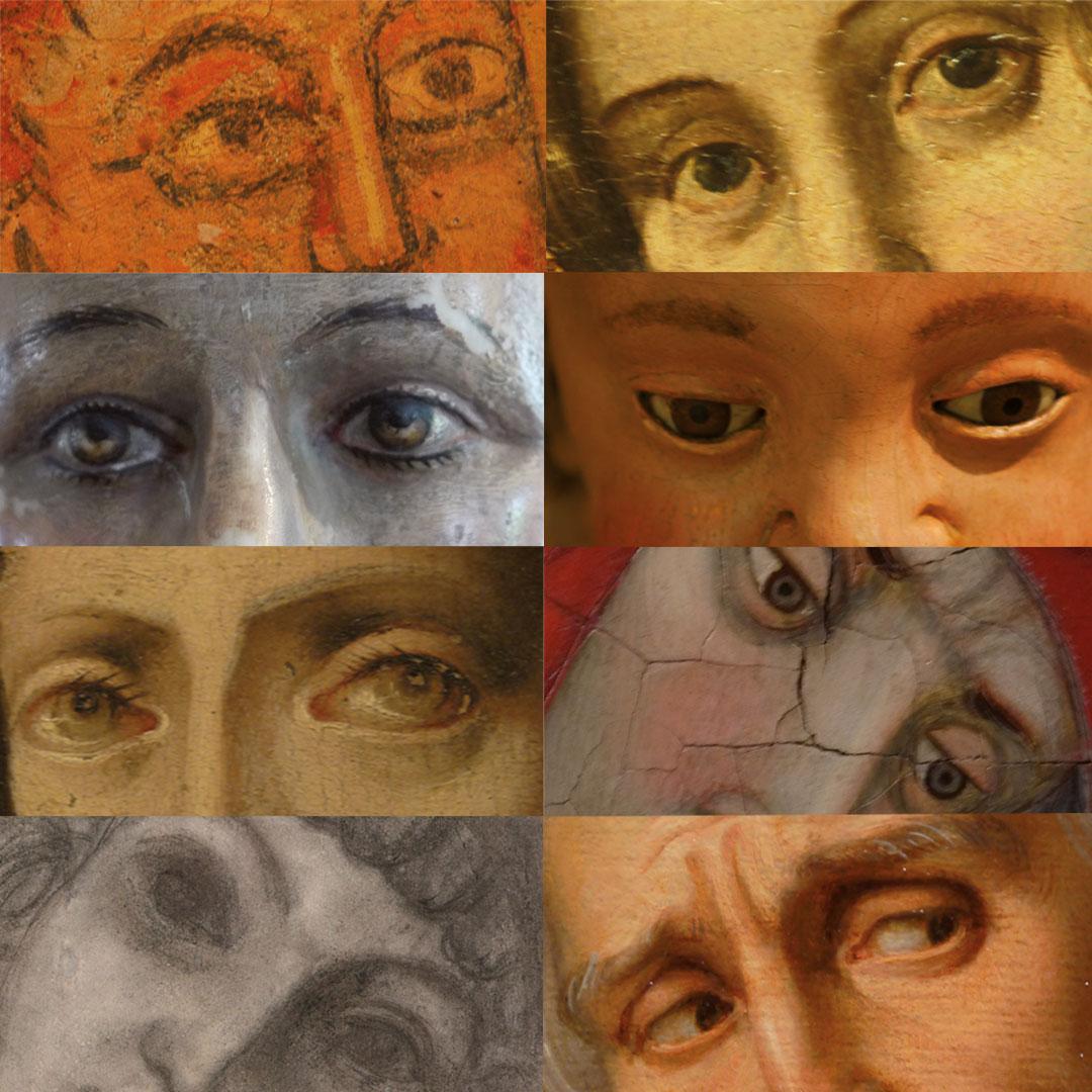 Vuit mirades de personatges de diferents objectes del Museu