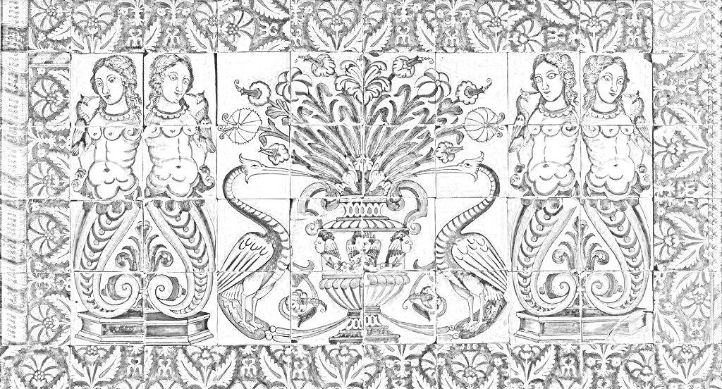 Rajoles amb un gerro i motius florals