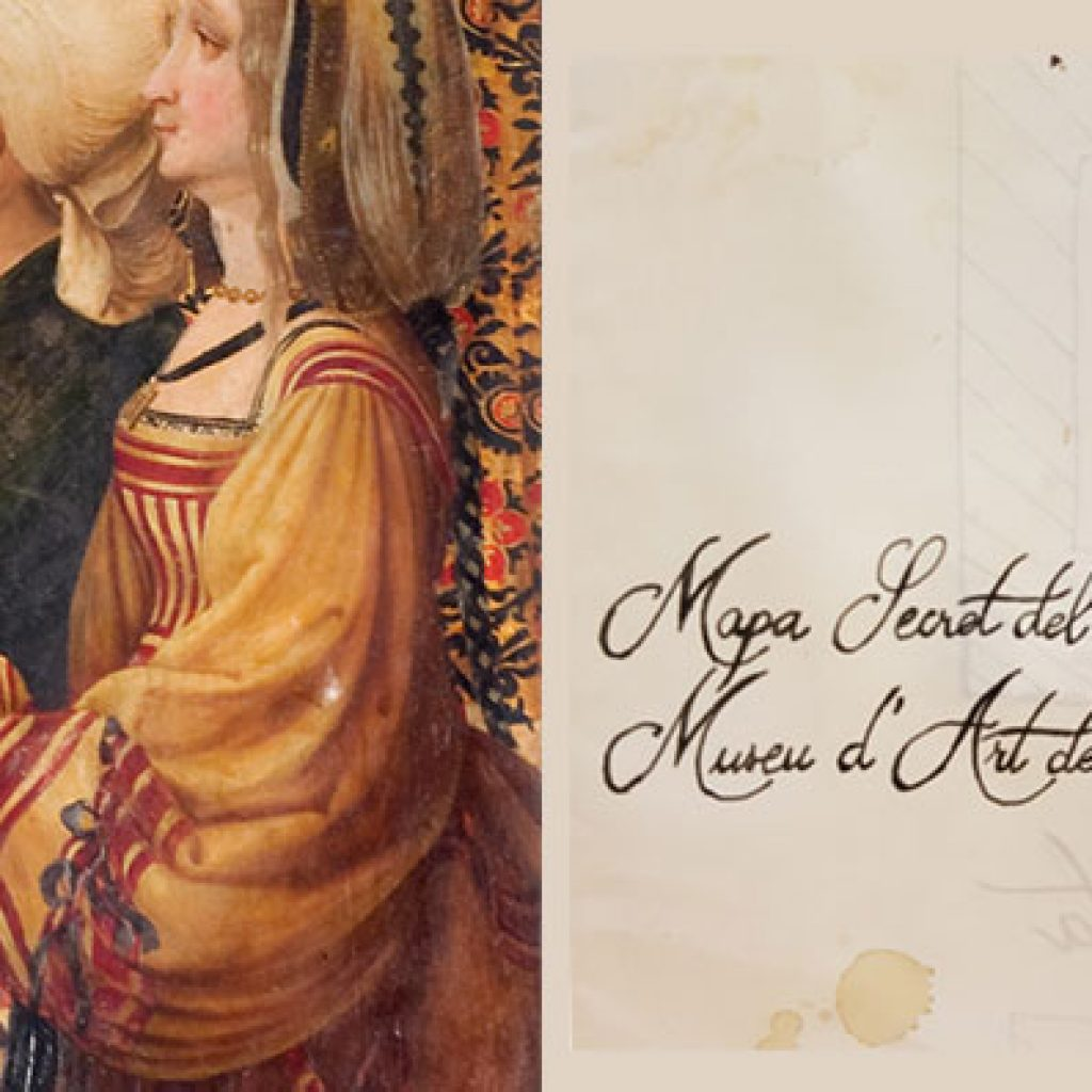 Postal antiga amb tres dones i l'escrit: Mapa Secret del Museu d'Art de Girona