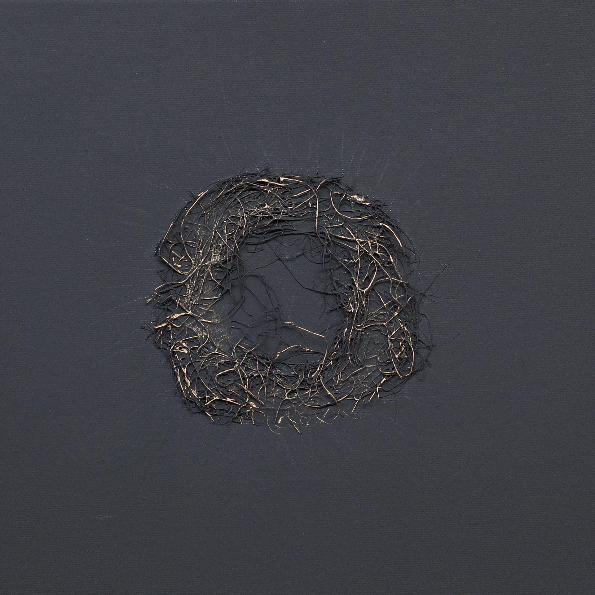 corona daurada sobre fons negre