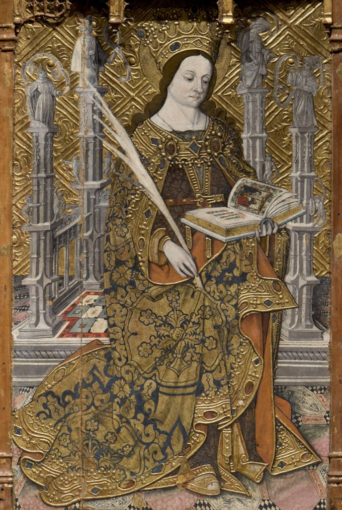 Santa Cristina, amb un llibre a la mà